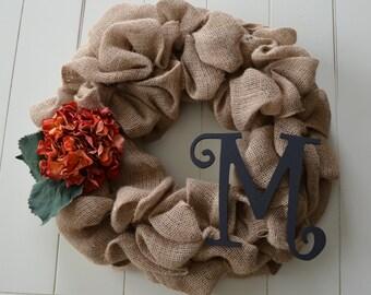Burlap Monogram Initial Wreath - Hydrangea (CUSTOM)
