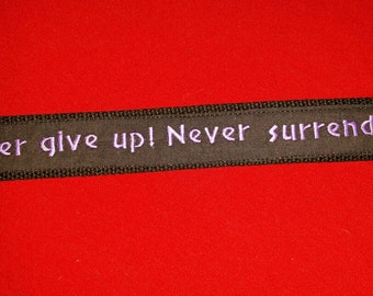 "Galaxy Quest inspired key holder ""Never give up never surrender!"""