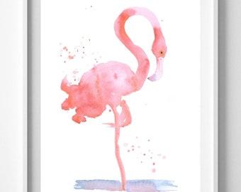 Flamingo Print, Watercolor Painting, Bird Art , Animal Art, Home Decor, Nursery, Giclee, Wall Art, Pic no 52