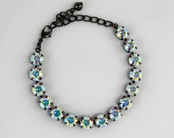 Aurora Borealis 8mm Swarovski Crystal Bracelet - Available in Antique Silver, Brass, Shiny Silver, and Black Metal Finishes