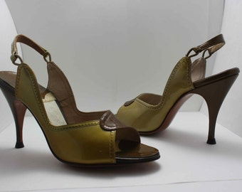 Green and Brown Slingbacks - Size 5.5N