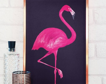 Flamingo Print  - Cool poster in A4 or A3  - flamingo prints - flamingo wall art - flamingo wall art - flamingo gifts - flamingo decor