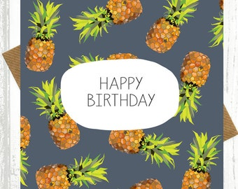 Pineapple Birthday Card - birthday cards - pineapple pattern - pineapple print