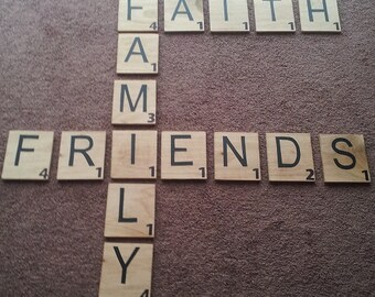 Wooden scrabble pieces will highlight any wall in your home.