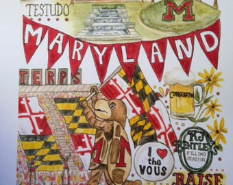University of Maryland print of original watercolor, celebrating all things Terps!