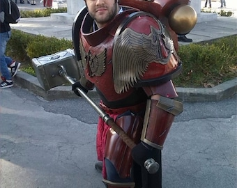 MADE TO ORDER: Warhammer 40000 Space Marine Blood Angel Capitan full power armor for larp and cosplay