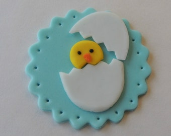 Fondant Baby Shower Cupcake Toppers - Chick Coming Out of the Egg - Easter, Baby Shower, Spring