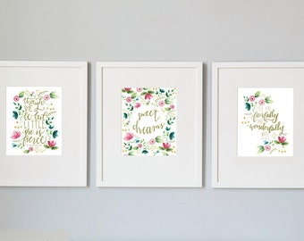 set of 3 floral nursery prints, printable, 8x10, She is Fierce print, Sweet Dreams print, Psalms 139 print, 3 pack nursery print, watercolor