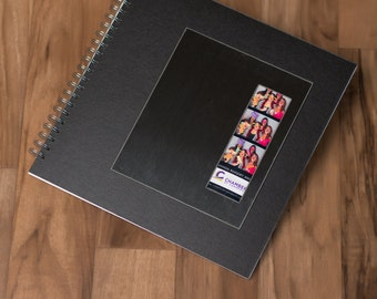 photo booth guest book with black mat and brushed metal frame 12x12