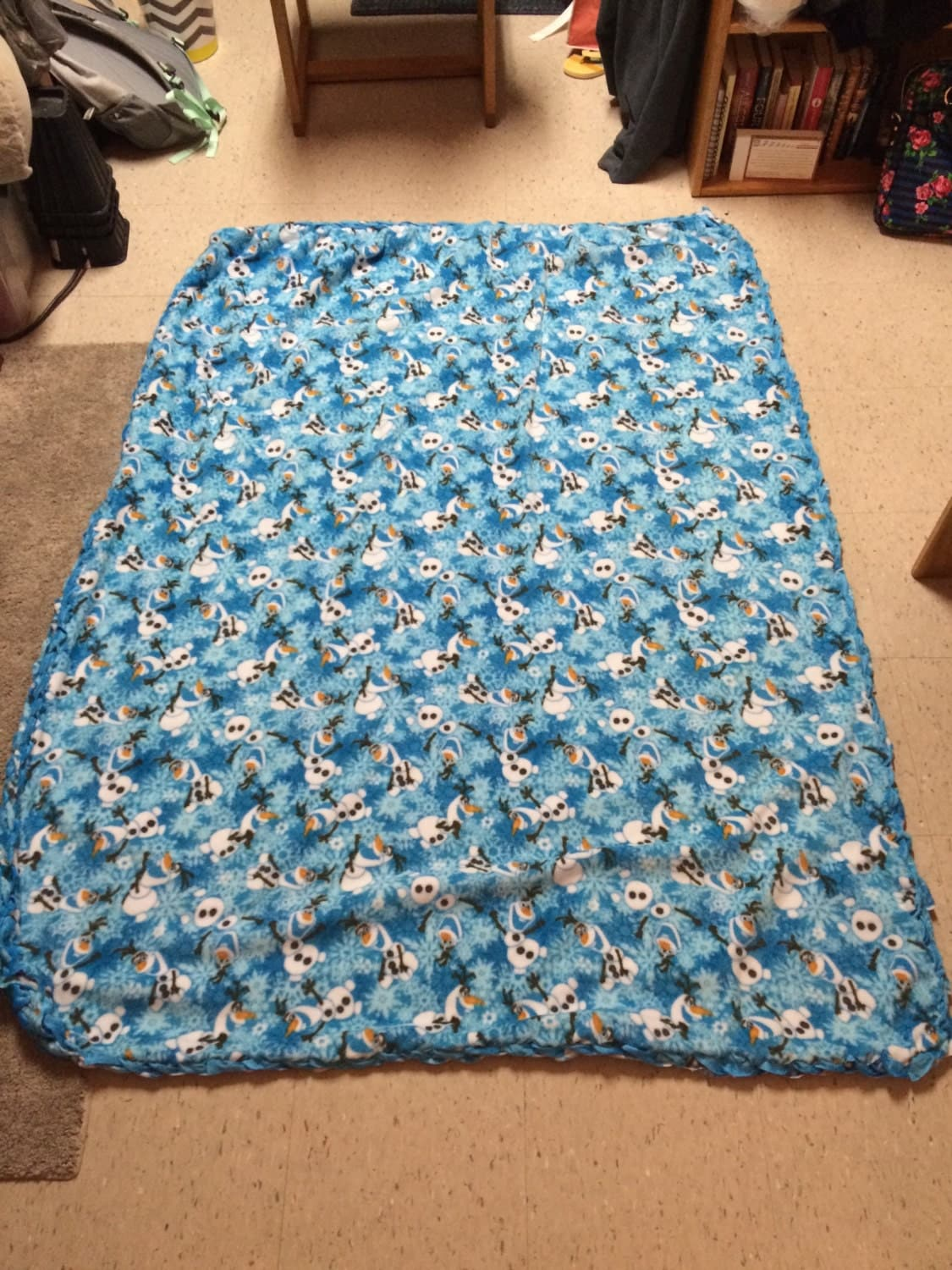 braided tie blanket with olaf by cmkcollegecreations