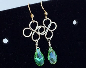 Silver Wire Wrapped Clover Dangles with Green Briollettes