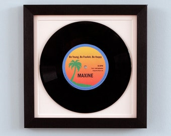 """Personalised and framed real 7""""  vinyl record – Pop classic"""