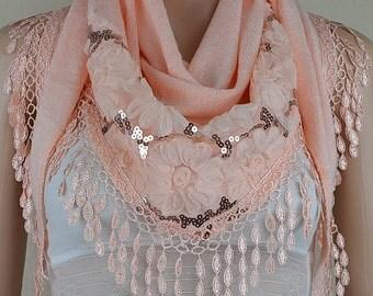 Meat pink knitting triangular scarf, lace stitching tassel scarf, sequins decoration warm scarf
