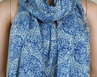 Blue cotton scarf, totem of blue and white porcelain printing scarf that restore ancient ways, Paris yarn scarves, shawls, collar