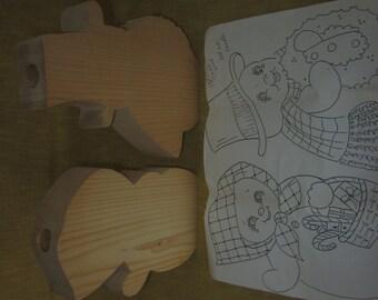 "Flo & Mo wood candleholders, 8""x 1 1/2""thick,folk art,tole painting,pattern"