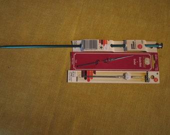 """3 Crochet hooks, Boye 14"""" aluminum afghan hook, Boye #12 steel, Anchor size 9 -1.25mm"""