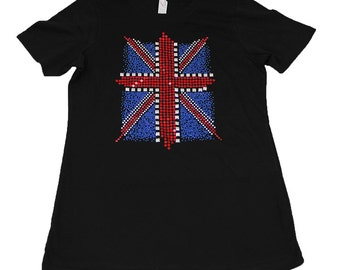 Union Jack T Shirt** Rhinestone / Rhine Stud*** Bling** UK * British * England