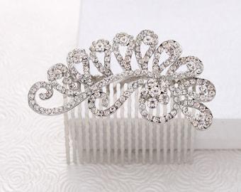 Wedding Hair Comb, Crystal Bridal Hair Clip, Bride Hair Accessory, Glam Wedding Comb, Rhinestone Silver Hairpiece, Statement Hair Jewelry