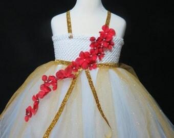 white and gold tutu dress,white gold Princess dress,Christmas tutu dress, red flower tutu dress