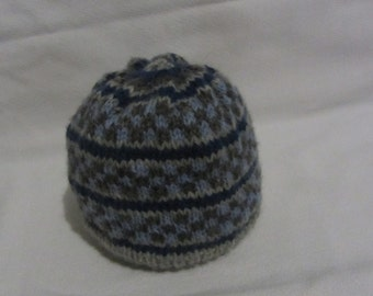 Hand Knit Fairisle Baby Hat