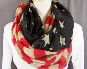 American flag USA stars and stripes lightweight gauzy infinity loop cowl long scarf