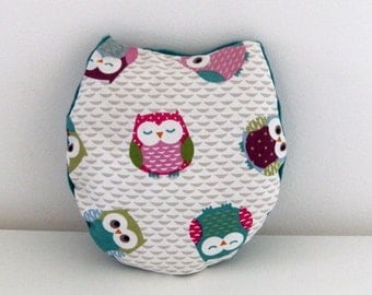 Cushion in cotton fabric  with owl and blue fleece