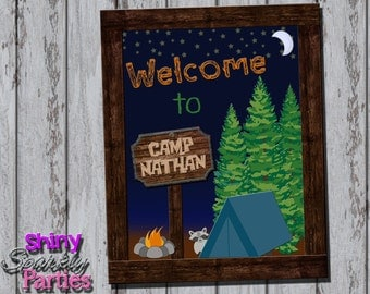 Printable CAMPING PARTY SIGN - Camping Birthday Party Sign - Camping Welcome Sign - Camping Party Decoration - Camping Party Decor