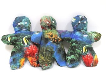 Hand made set of 3 soft dolls. Under the sea coral reef print. Many fabrics & colours available.