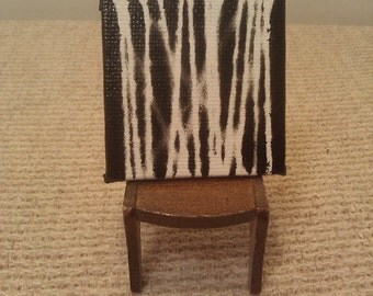 Miniature Abstract Painting - Black & White / 2x2 Miniature Canvas Painting For a Dollhouse or Decoration