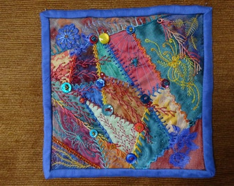 Crazy Quilt Wall Hanging, wall decoration, crazy quilt, fiber art, wall art, wall hanging, crazy quilt art, handcrafted, embroidered, button