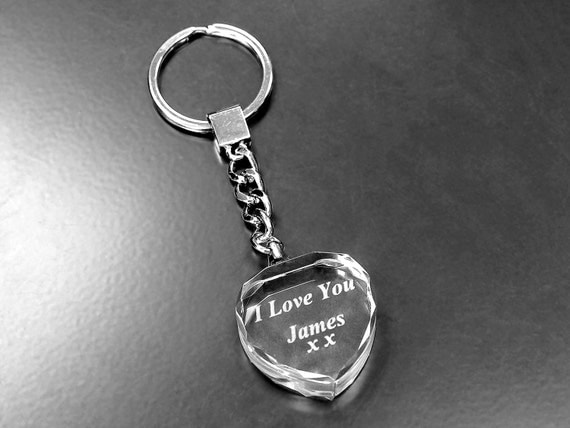 Personalised Keyring Cut Glass (Heart Shape) Gifts, Weddings, Father's Day, Christmas, Valentine, Birthday, Bachelor Party, Graduation.