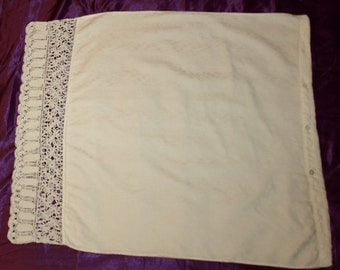 Large White Hungarian Crochet Pillowcase from the 60s