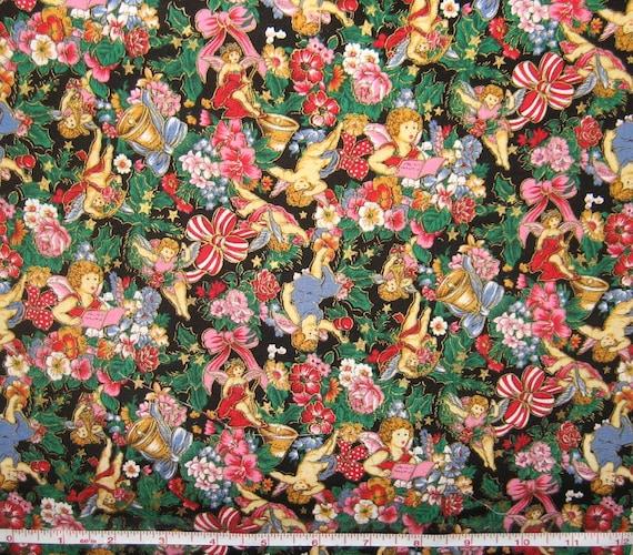 Christmas Cherub Print Fabric - Holiday Editions by Fabri ...