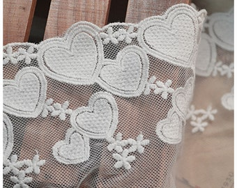 5.12 inches wide White lace fabric, Love Heart Lace, embroidered lace, bridal lace F0029