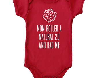 Mom Rolled a Natural 20 and Had Me - Red & Asphalt Tabletop Gaming Onesie - D20
