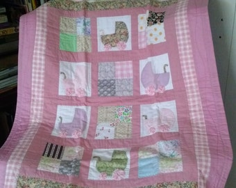 Quilt/ Baby Quilt/ Handmade Quilt/ Baby girl quilt with buggy motif