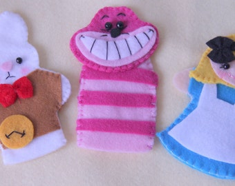 Alice in Wonderland  Felt Finger Puppets Set with 3 Finger Puppets
