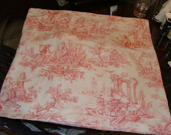 Shabby Chic, Euro Sham made with pink antique French toile