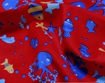 fabric for children pure cotton corduroy red fish needlecord starfish squid