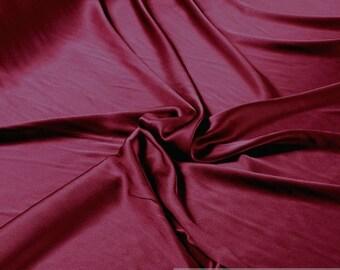 Fabric silk elastane satin bordeaux flowing stretch noble dark red