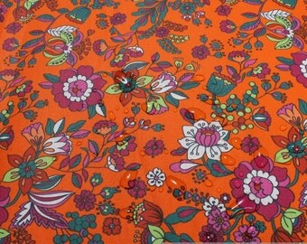 Fabric cotton acryl orange colourful flowers cagoule coated table cloth