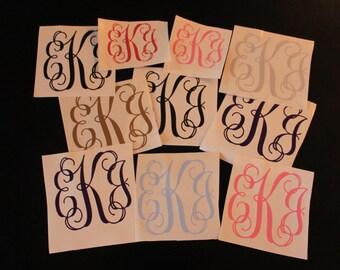 Vine Monogram Custom Decal, Personalized Monogram Sticker