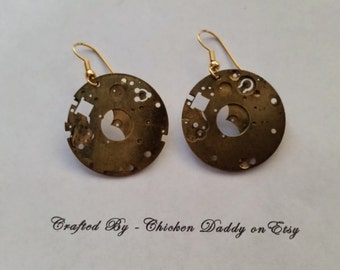 Steampunk watch earrings goth style