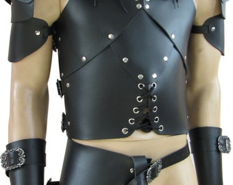 Hard leather ARMOUR for man warrior, black or brown, the best for larp