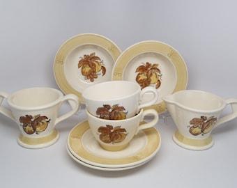 "1970's (8 pc) Poppy Trail ""Golden Fruit"" METLOX Made in California Pottery Dinnerware."