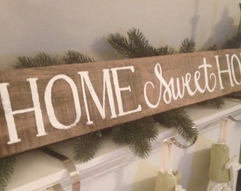 "Hand Painted ""Home Sweet Home"" Reclaimed Wood Sign"