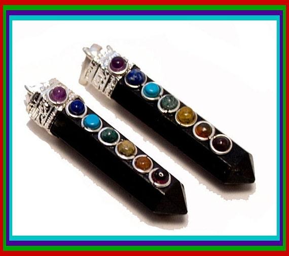 black tourmaline pendant with 7 chakra stones by