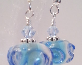 Whimsical Swirl Lampwork Bead Earrings