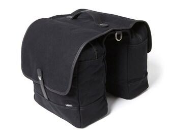 Bike Bag / Bike Pannier / Bicycle Bag / Panniers / Black Canvas Double Panniers / Pannier Bag / Bike Bag