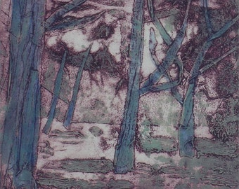 Green trees on Wandsworth Common - collograph print with hand colouring